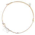 BR8263BS-bracelet cordon beige avec perle nacrée et pendentif i love you