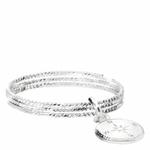 BG8405-54-bague 3 anneaux ciselés et pendentif boussole