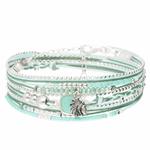 BR8273VEA - bracelet multi-tours turquoise pendentif indien pierre naturelle turquoise