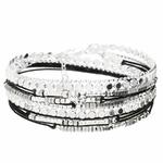 BR8271NOHG - bracelet multi-tours en argent 925, cordons noirs et maille ronde rock plate