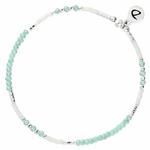 BR7443VTIVM - bracelet élastique perles blanches et turquoise