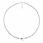 CO8259NONO - collier cordon noir pendentif croix oxyde