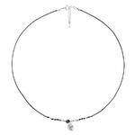 CO8262NONO - collier cordon noir pendentif indien ethnique