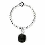 BG7654NOM - bague élastique pierre semi-précieuse en onyx
