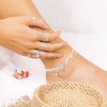 CHE7616OPBL - che7250BLm - che7441blm - Femme potant des bracelets de chevilles élastiques en argent 925 et perles blanches