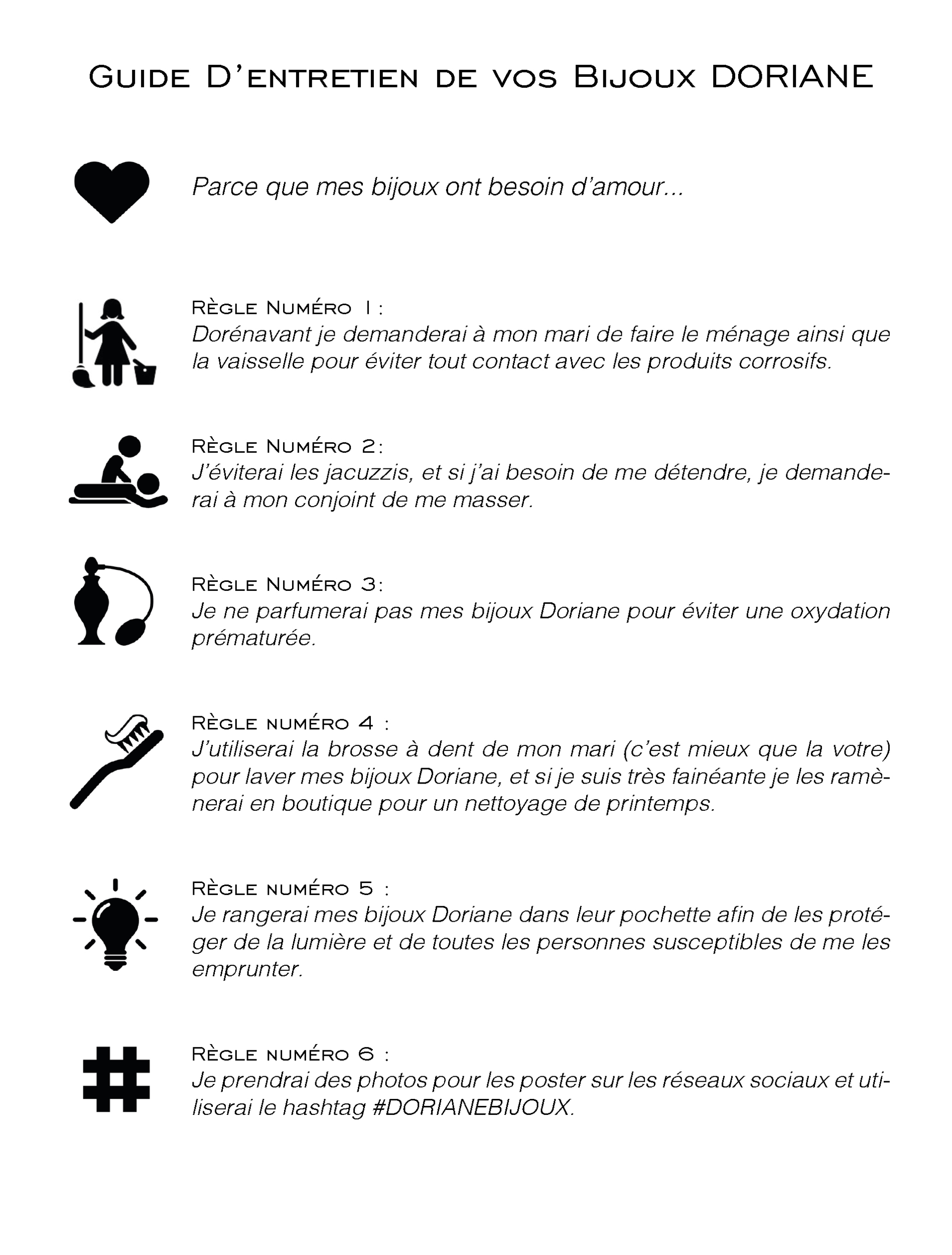Les règles d'or Doriane Bijoux A6RV