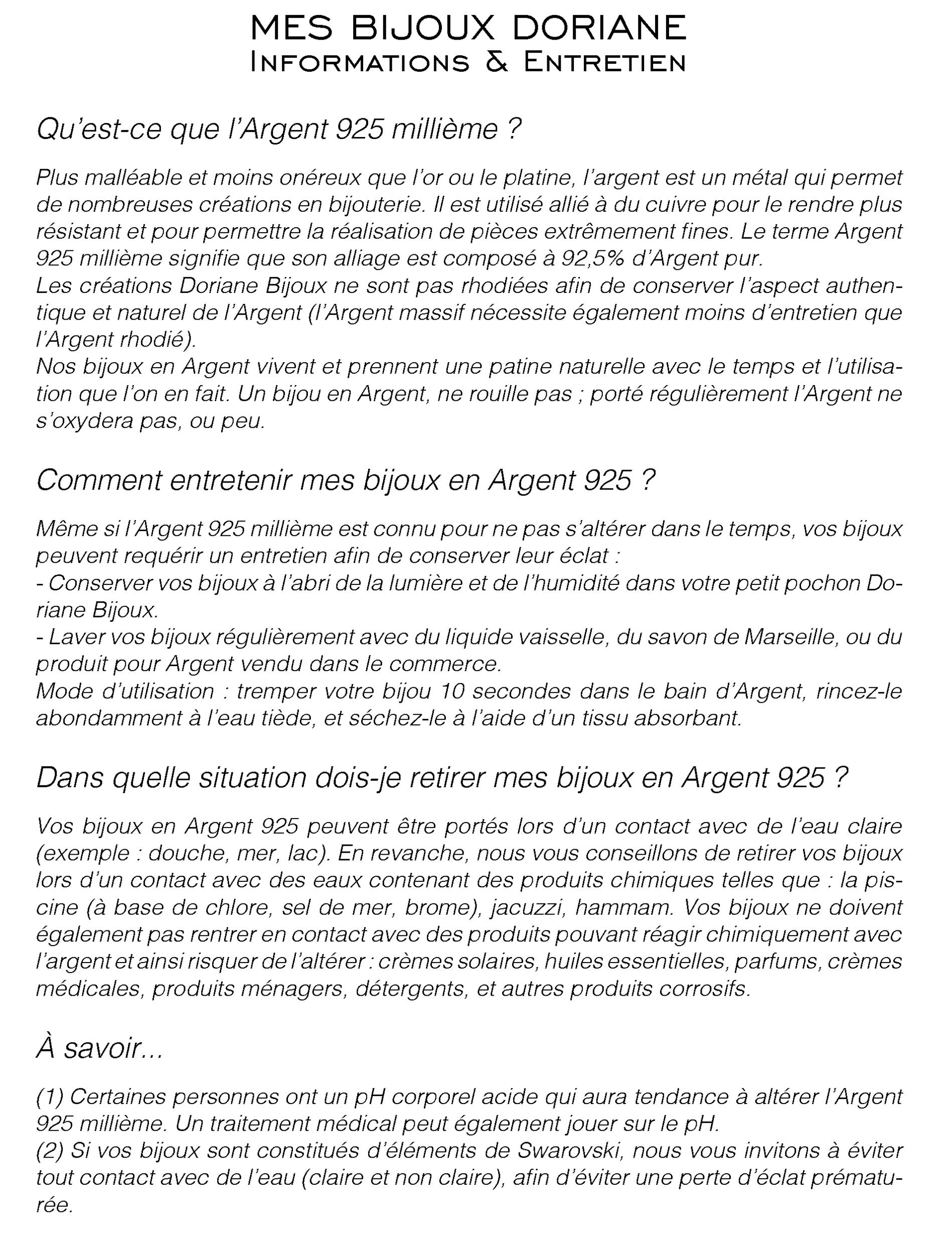 Les règles d'or Doriane Bijoux A6RV2