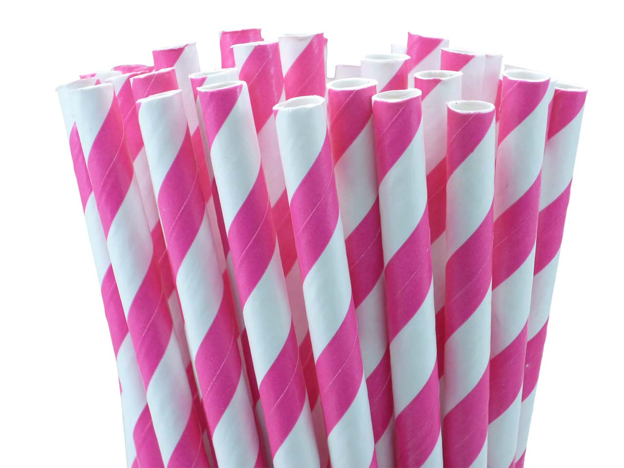 25 pailles papier à rayures fuchsia