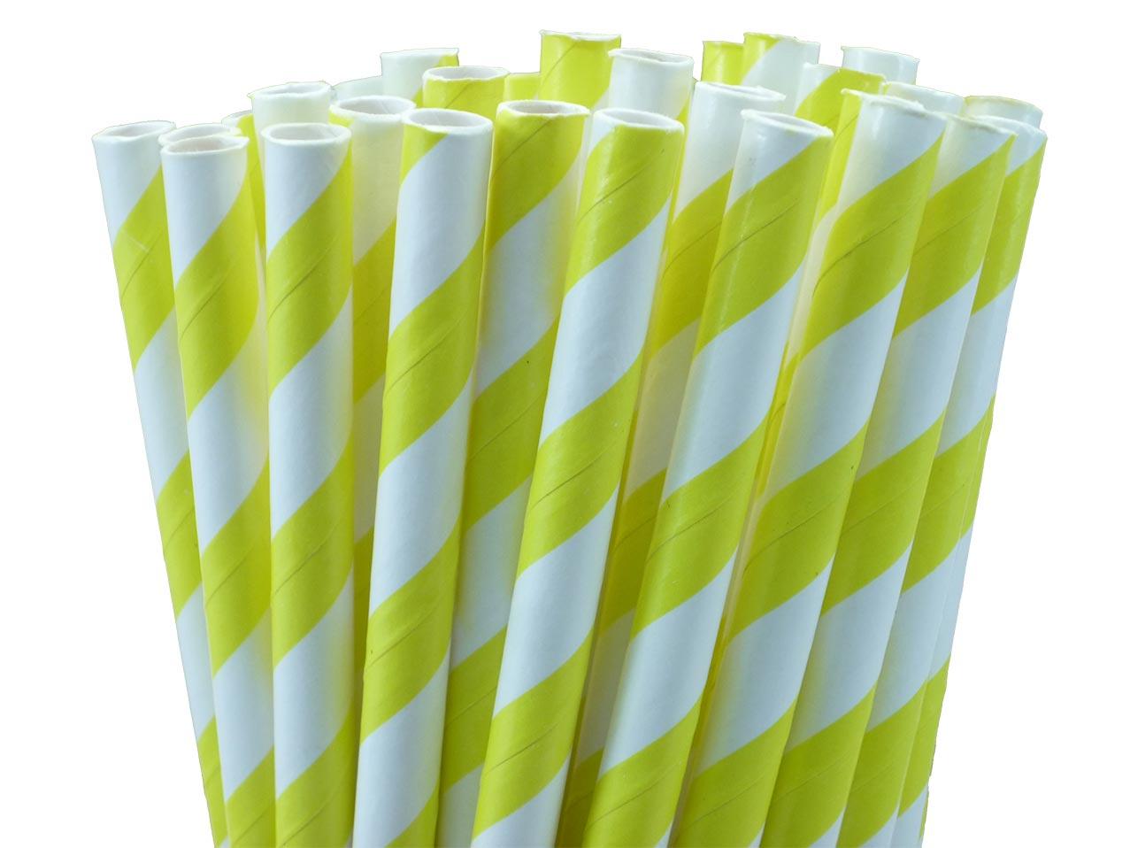 10 pailles papier à rayures jaunes