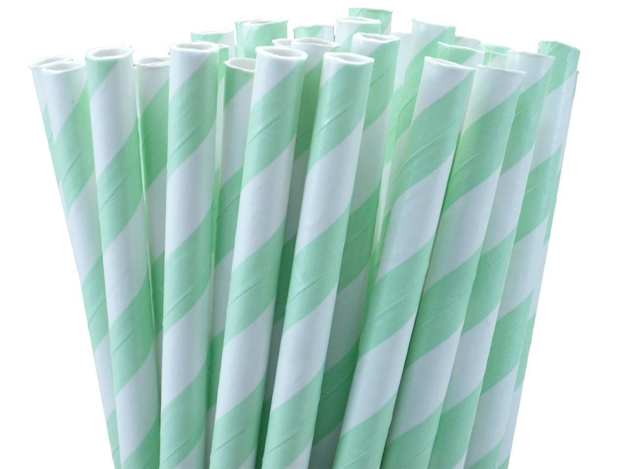 25 pailles rétro à rayures menthe