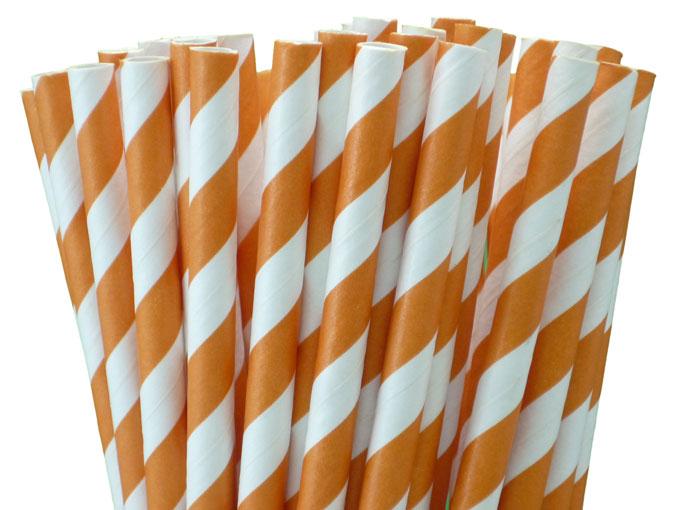 25 pailles rétro à rayures orange