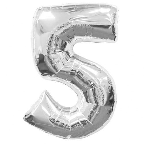 Ballon mylar chiffre 0 à 9 argent