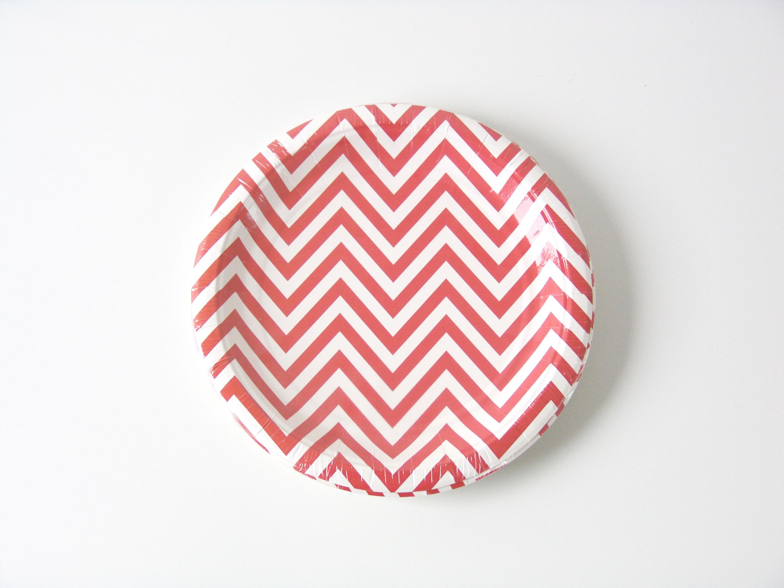 12 assiettes carton dessert chevron