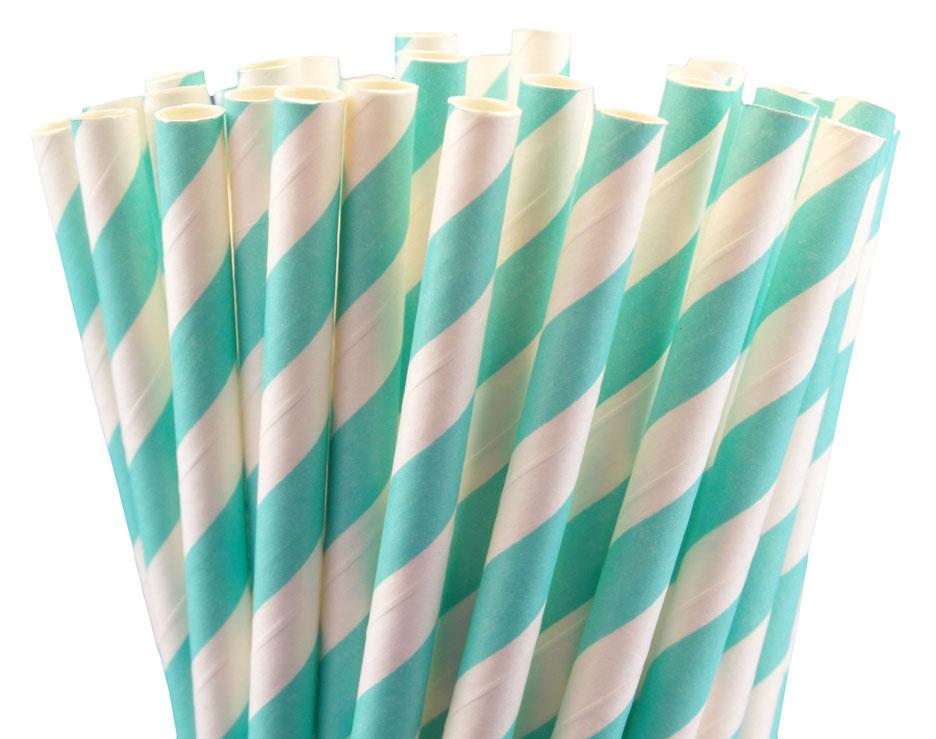 25 pailles rétro à rayures bleu Tiffany