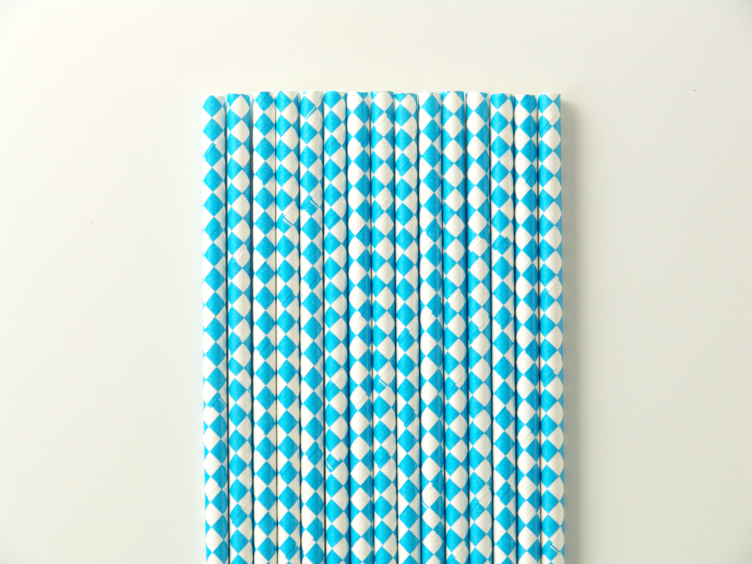 25 pailles en papier losange bleu