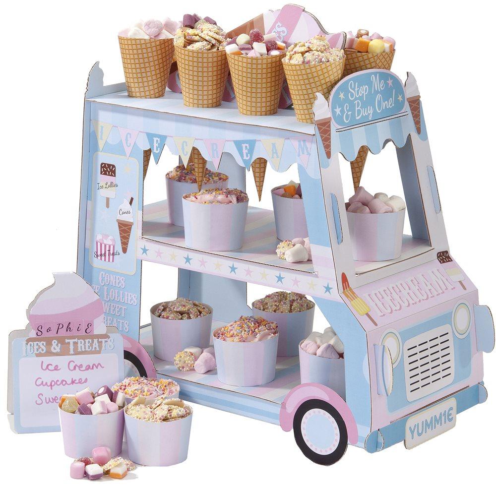 pr sentoir gateaux cupcake camion de glace en carton achat vente. Black Bedroom Furniture Sets. Home Design Ideas