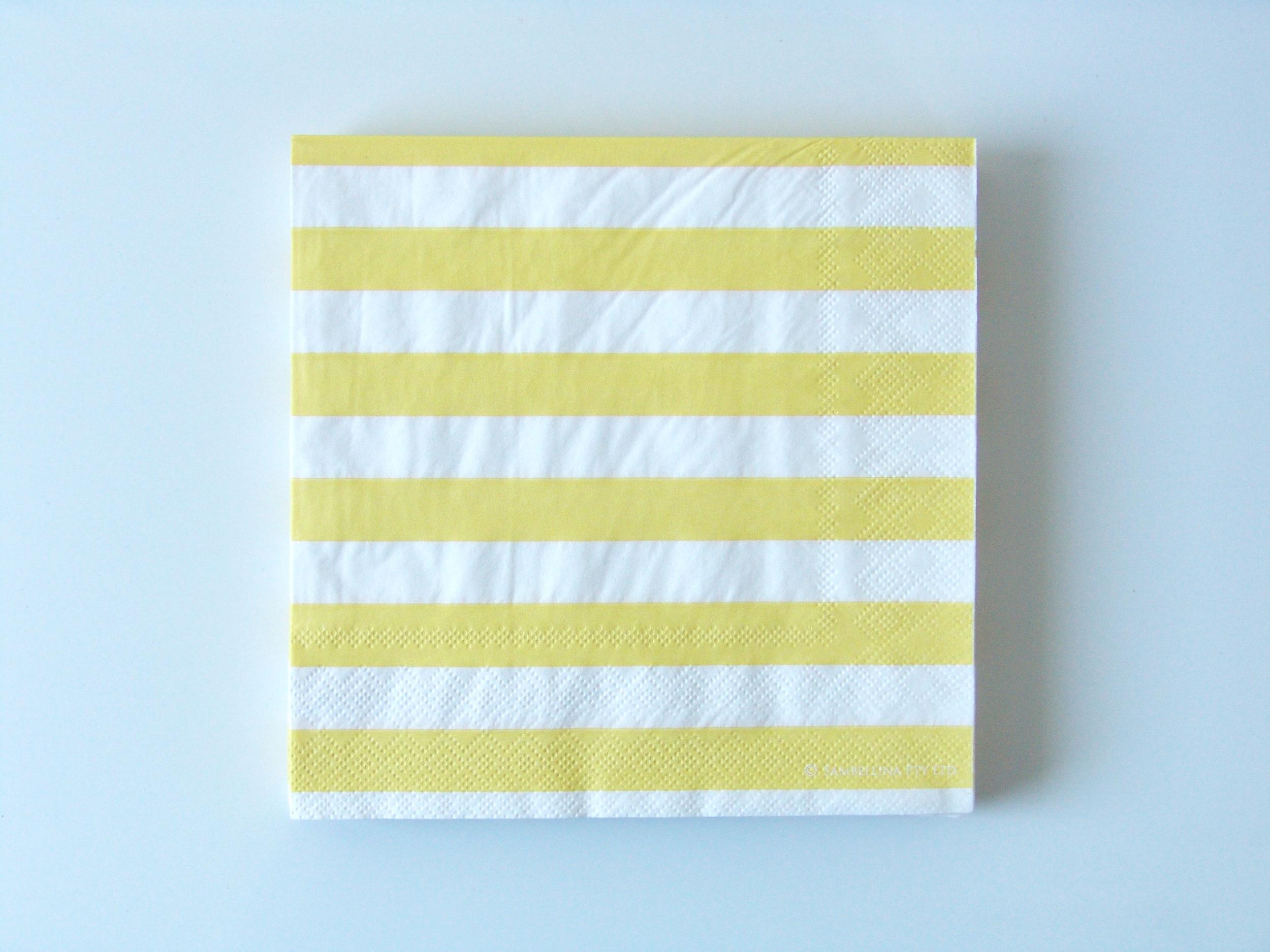 Serviette jetable papier rayures jaune sambellina achat vente - Serviette de table jetable ...