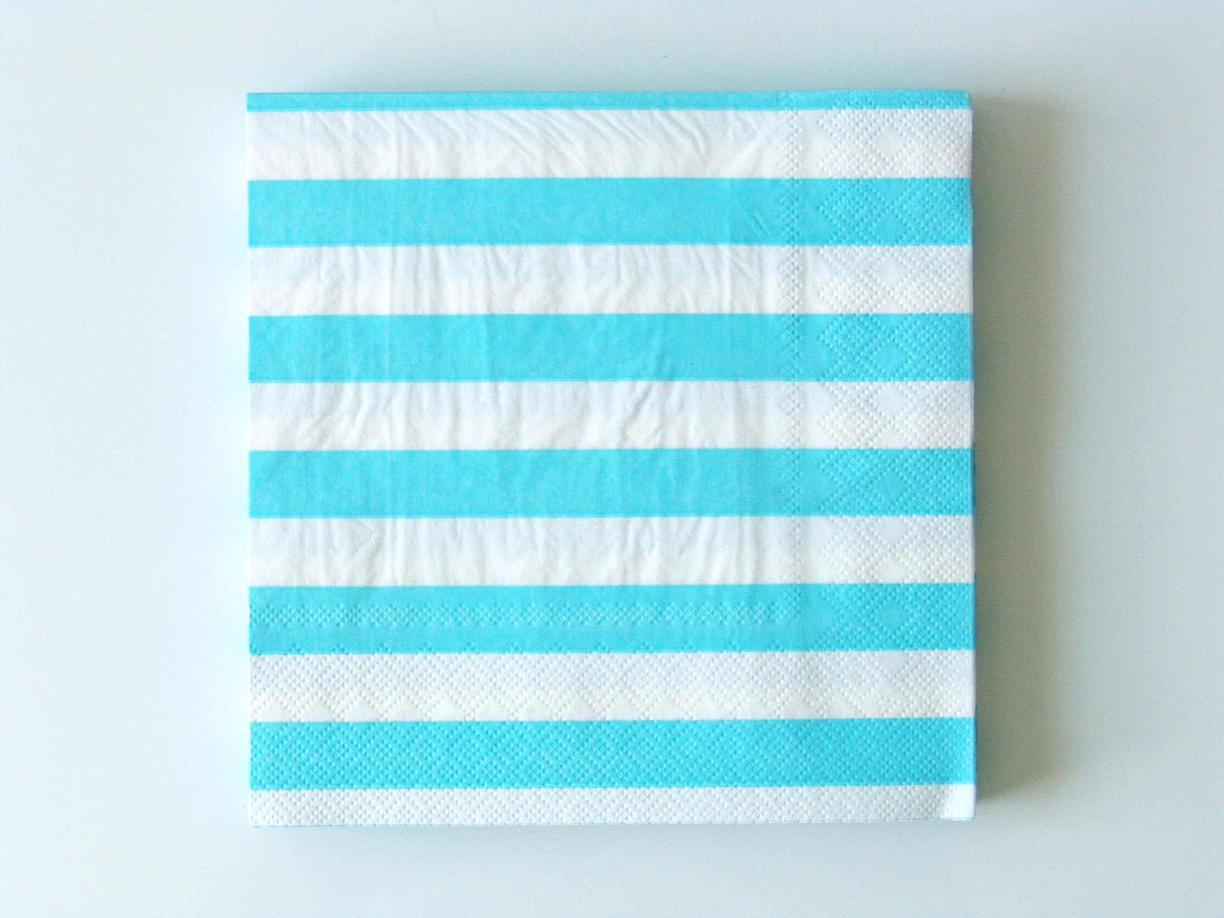 20 serviettes jetables rayures bleu clair