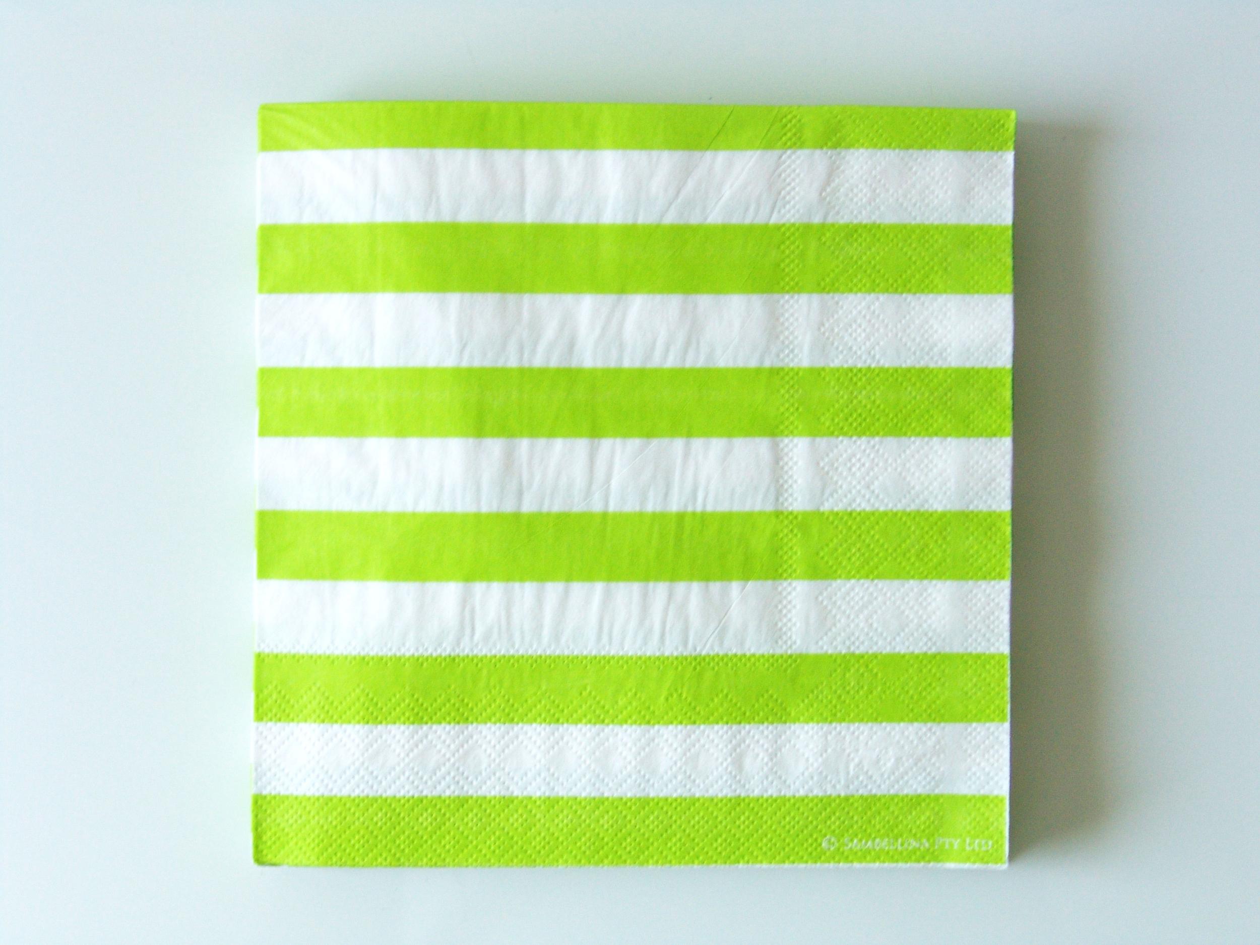 20 serviettes jetables rayures vertes