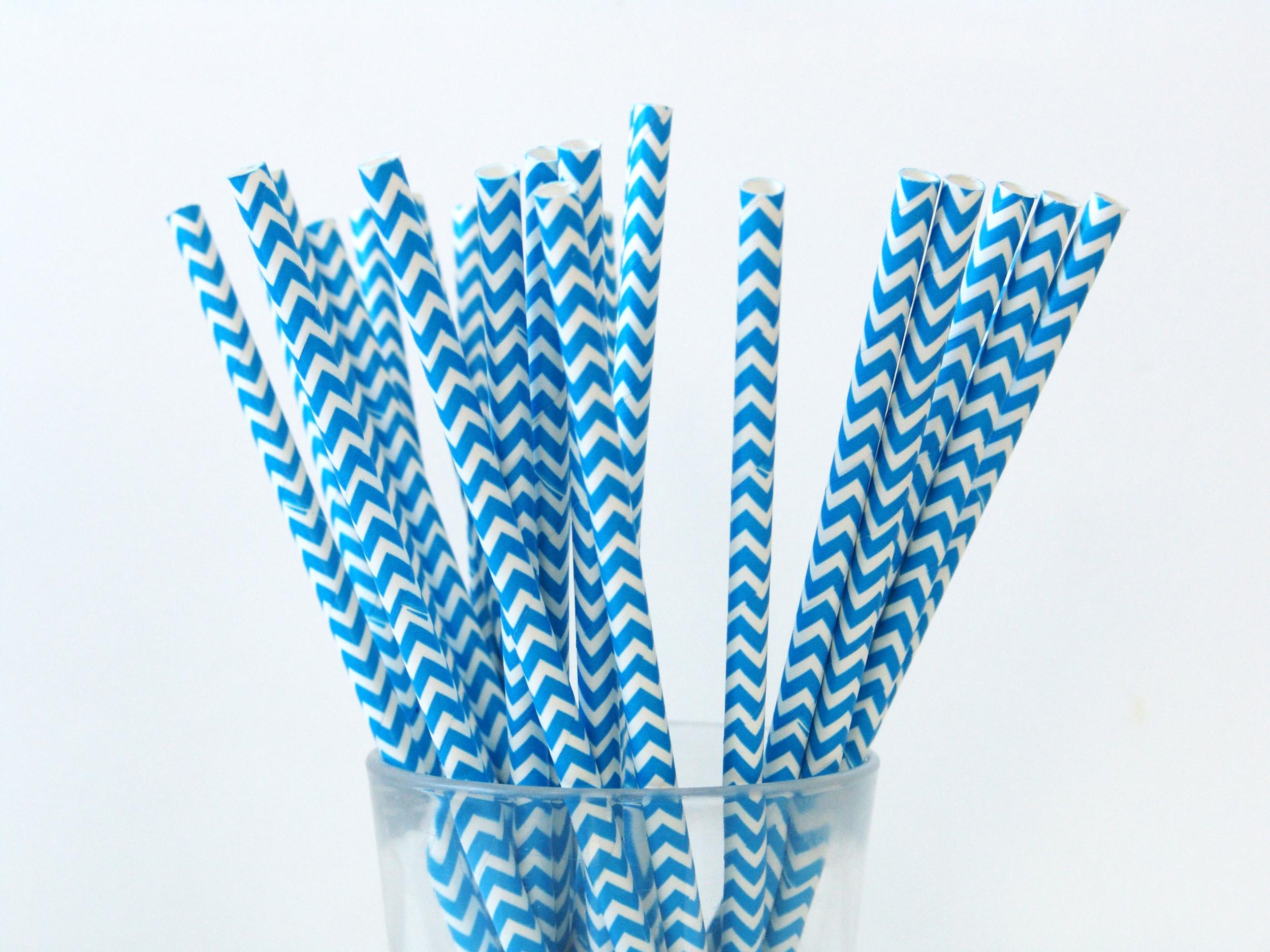 25 pailles papier à chevrons