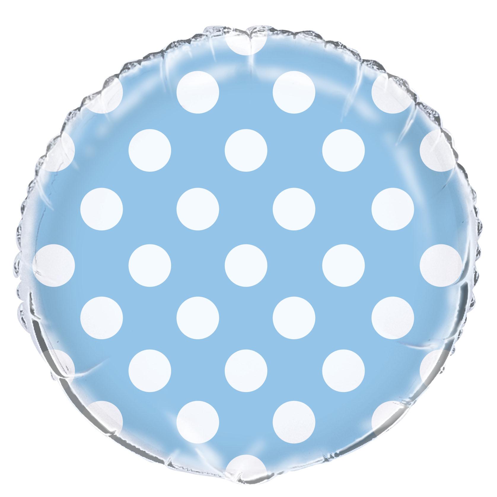 Ballon mylar bleu clair à pois blanc