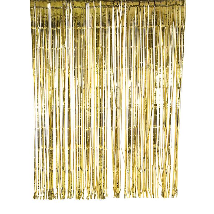 Rideau métallisé à franges dorées