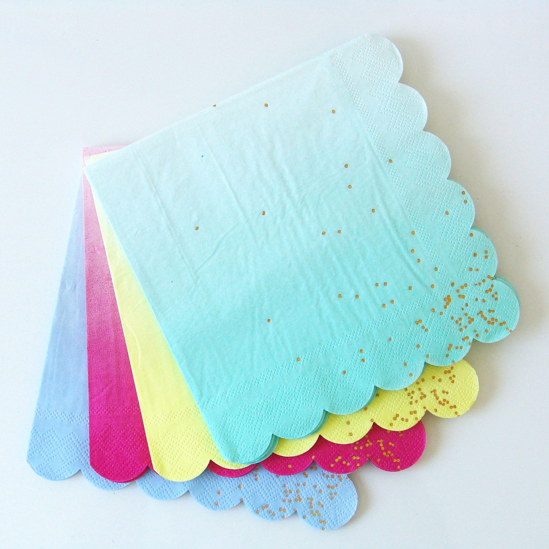 16 serviettes jetables ombré