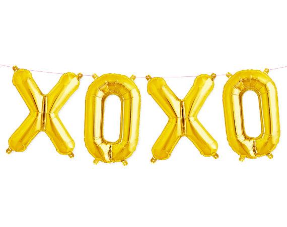 Kit ballon lettres XOXO doré