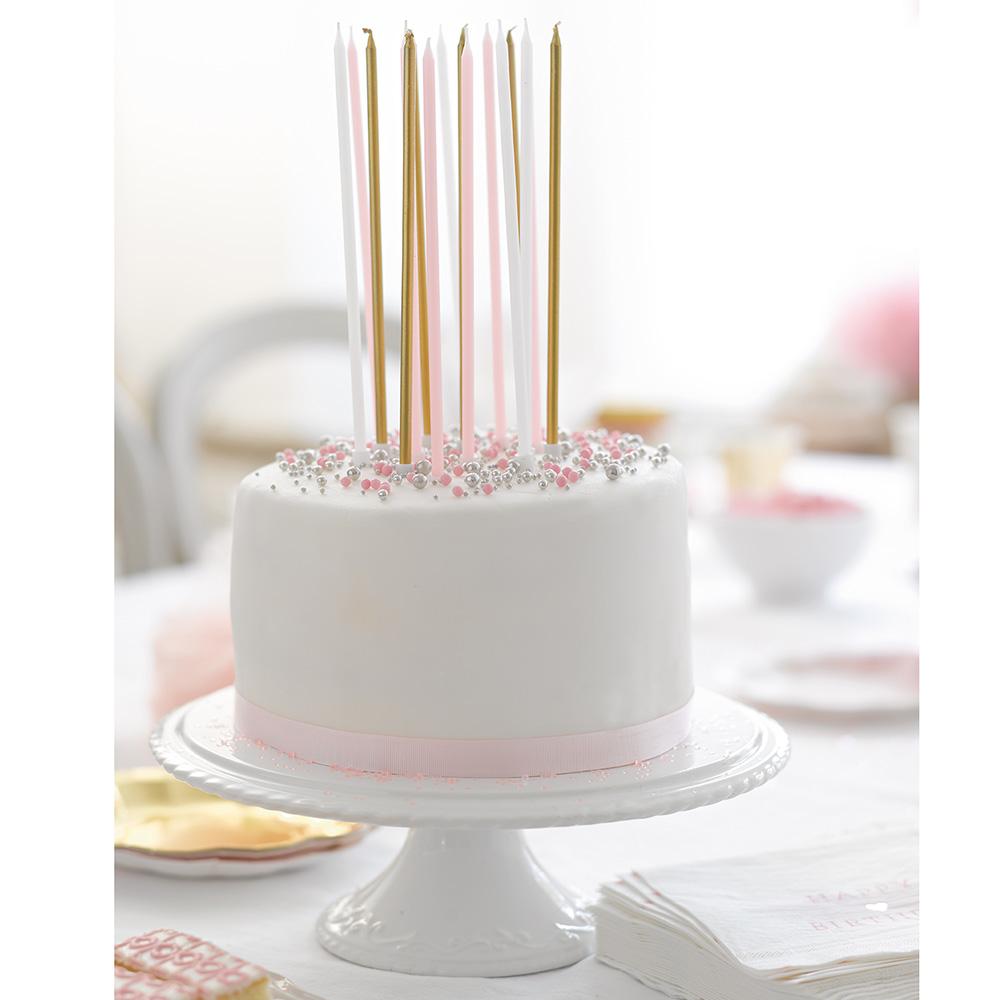 16 longues bougies d\'anniversaire rose