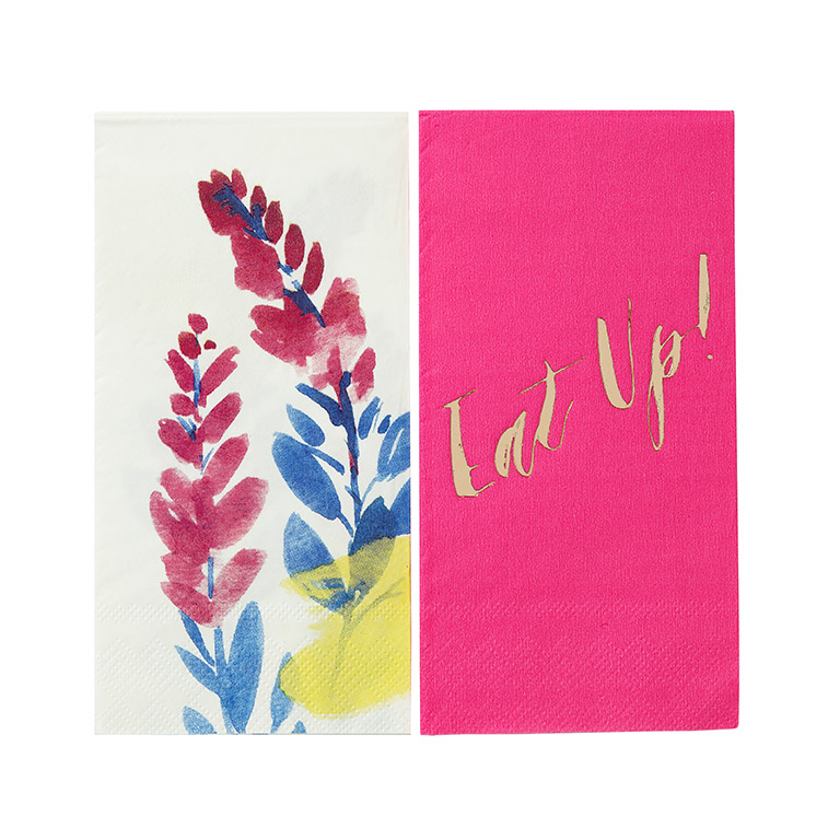 serviette-jetable-fluorescent-floral