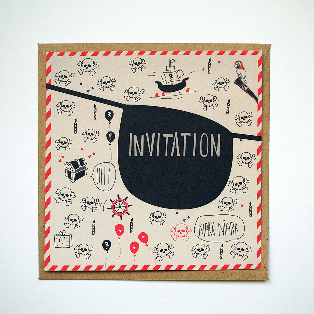 carte invitation anniversaire pirate papier recycl. Black Bedroom Furniture Sets. Home Design Ideas