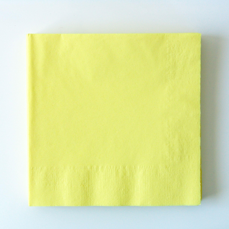 Serviette de table jetable en papier jaune uni achat vente - Jaune pastel peinture ...