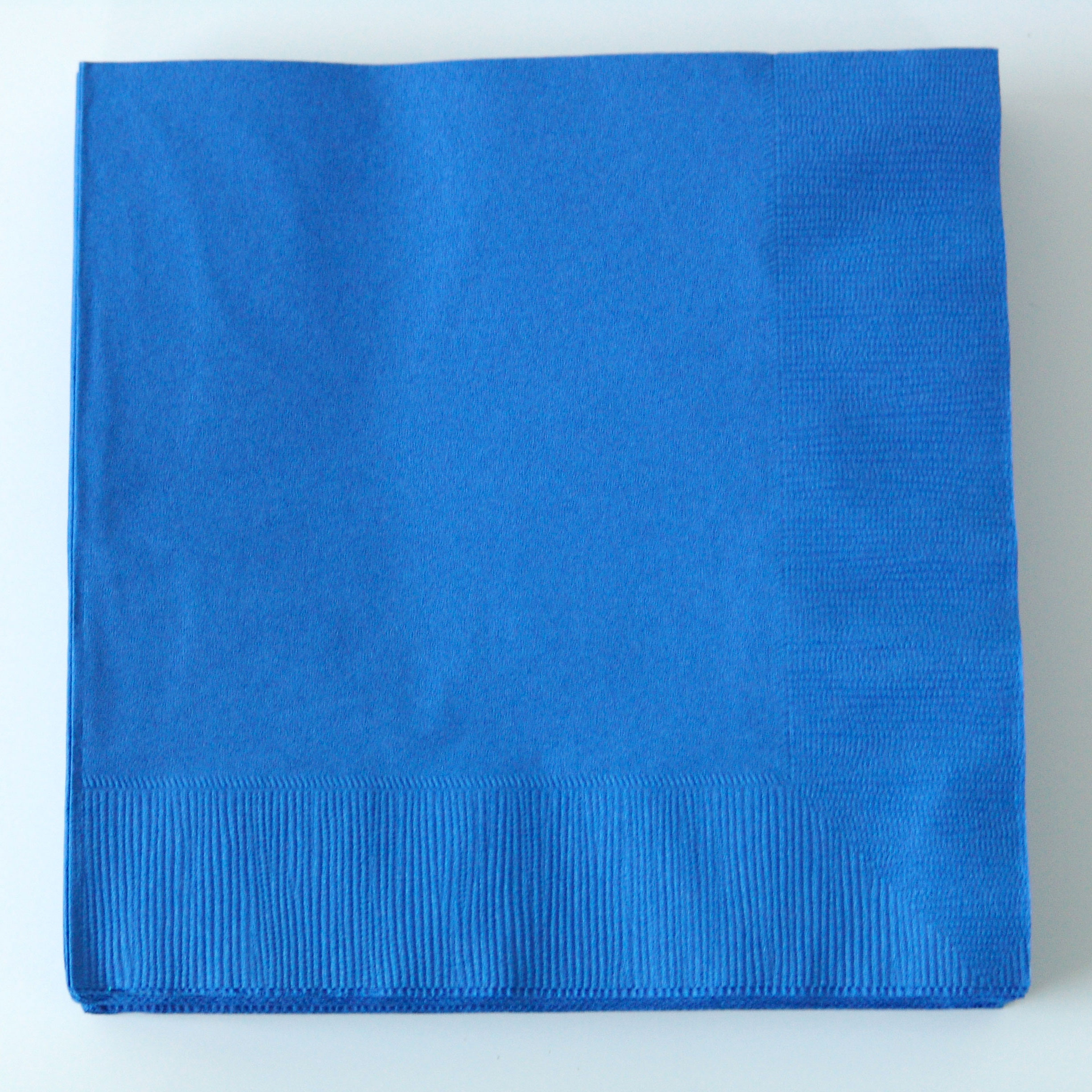 20 serviettes unies bleu roi