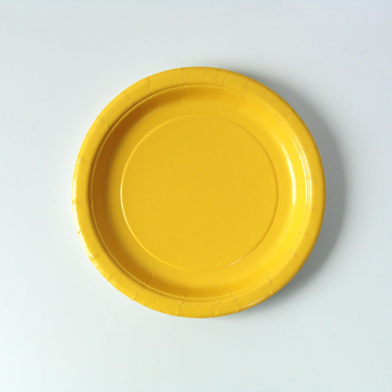 assiette-jetable-jaune-vif