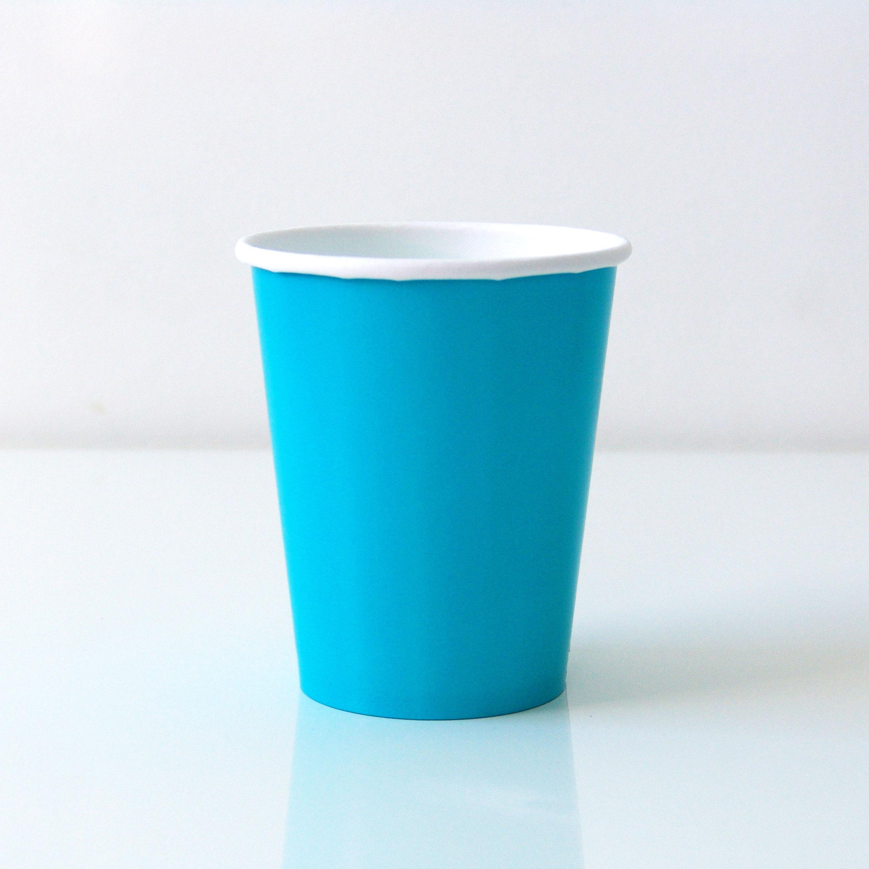 8 gobelets unis turquoise