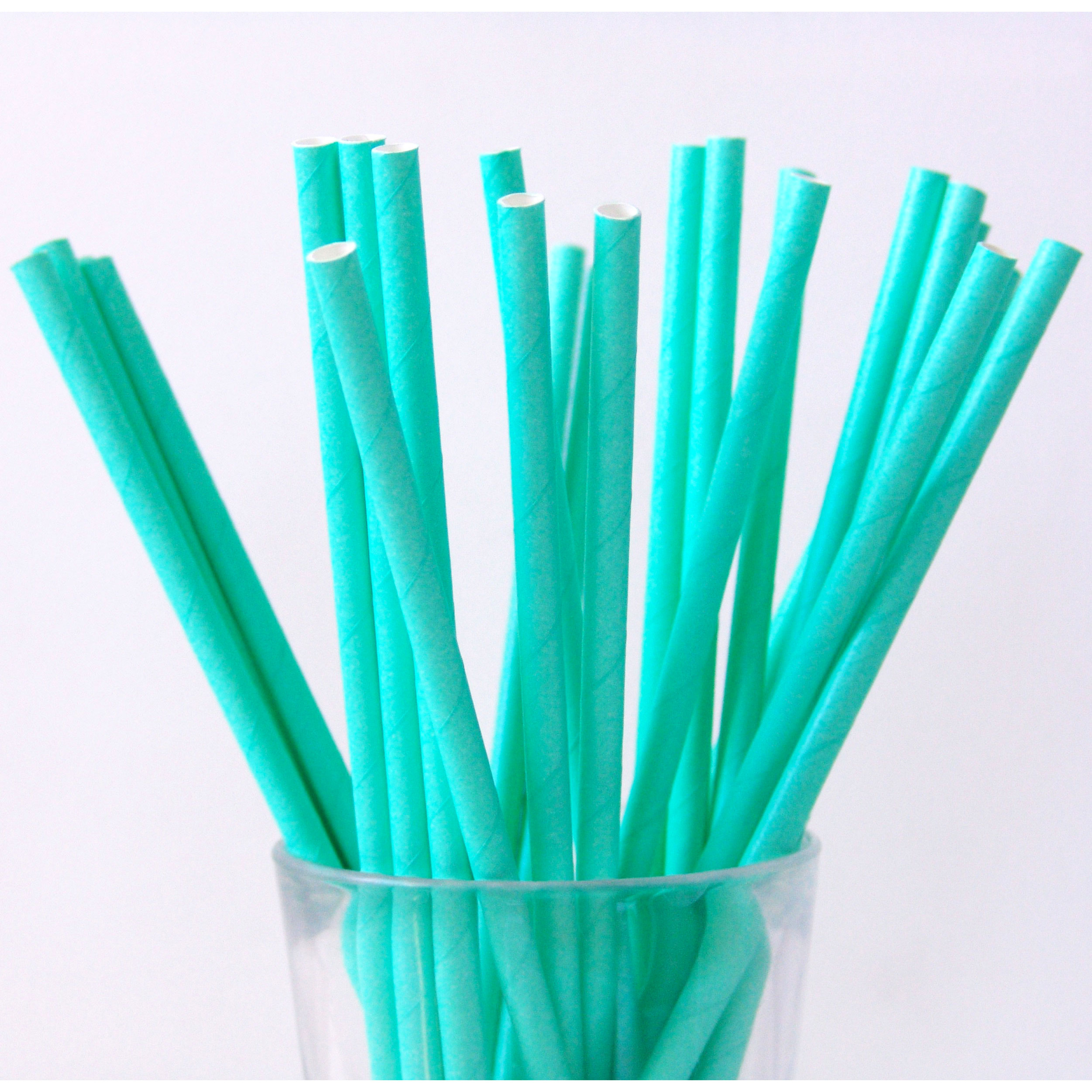 25 pailles en papier uni vert menthe
