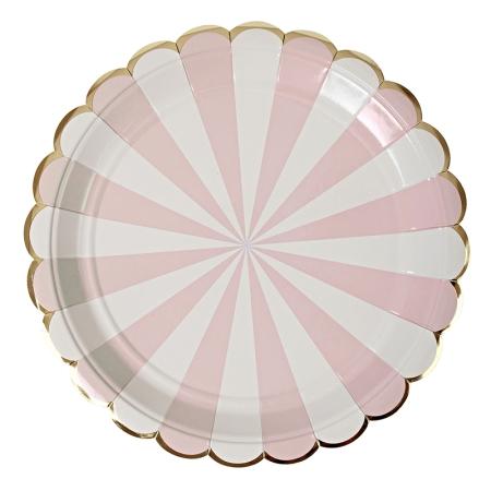 8 assiettes carton rayures rose clair