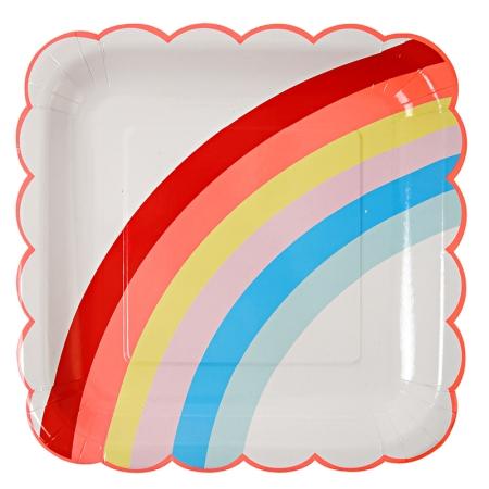 12 assiettes en carton arc-en-ciel