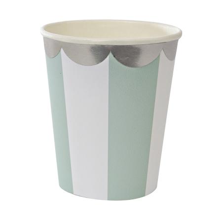8 gobelets carton rayures vert menthe