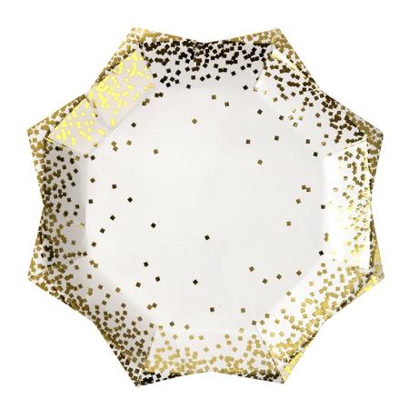 8 assiettes carton confettis dorés