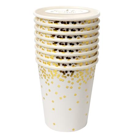 8 gobelets carton blanc confettis dorés