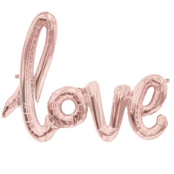 lettre ballon Ballon mylar Love lettre cursive rose gold metallisé   Achat / Vente lettre ballon