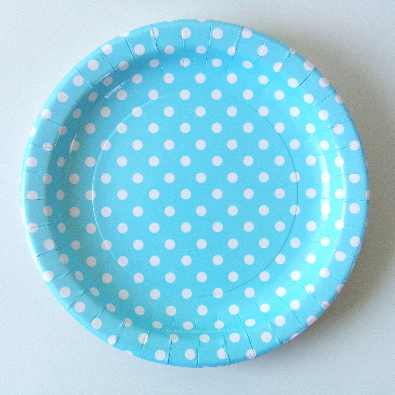 assiette jetable carton bleu pois blanc sambellina achat. Black Bedroom Furniture Sets. Home Design Ideas