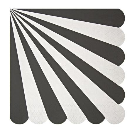 20 serviettes papier rayures noires