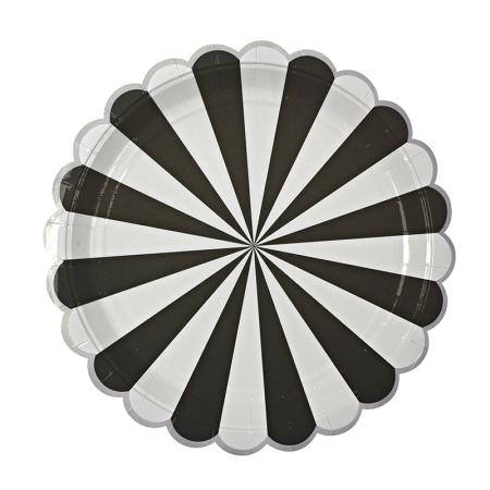 8 assiettes carton rayures noires