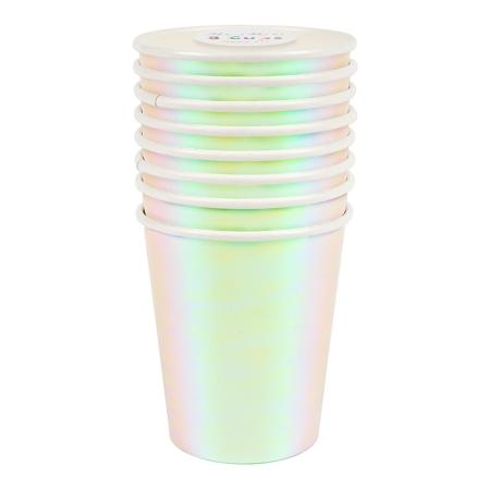 8 gobelets carton iridescent