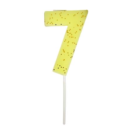 Bougie anniversaire chiffre 7 jaune fluo
