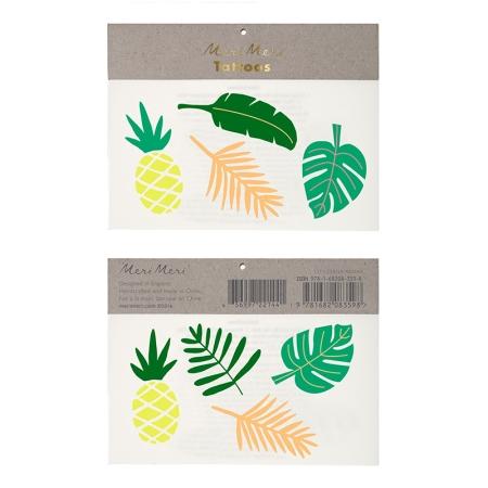 2 planches de tatouages thème tropical