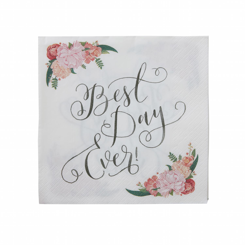 serviette jetable fleurs best day ever mariage boh me chic achat. Black Bedroom Furniture Sets. Home Design Ideas