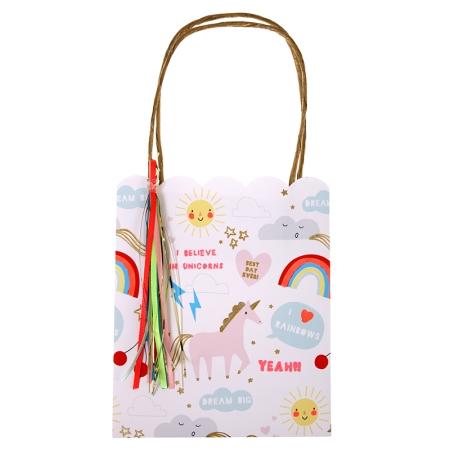 8 sacs cadeaux papier anniversaire licorne